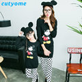 Familylook Mom&Daughter Matching Clothes Set  Mother and Kids Cartoon Mickey Top+White Dot Legging Za*a* Family Outfits Clothing