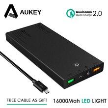 Aukey мини 16000 мАч power bank 12 В портативный быстрая зарядка 2.0 внешняя батарея для xiaomi iphone samsung dual usb быстрый зарядное устройство