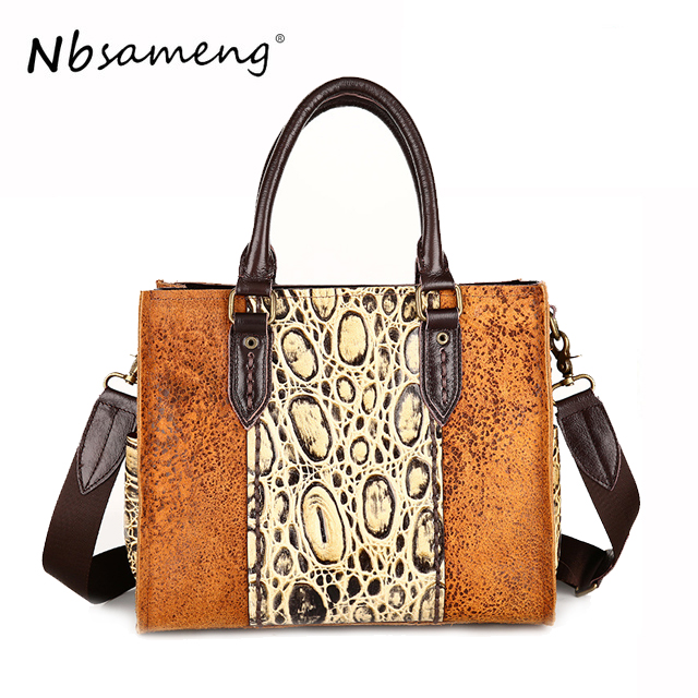 NBSAMENG Women Genuine Leather Shoulder Messenger Lady Luxury Brand Vintage Bag Bolsas Feminina
