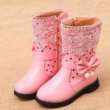 SKEHK Girls Snow Boots With Bowtie  New Brand Warm Plush Sneakers Kids Boots Winter Boots For Kids High Cotton-Padded Girls shoe aadct fashionable warm cotton fur girls boots new winter comfortable children boots for boys high quality kids snow boots brand