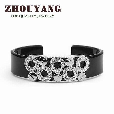 Мужские браслеты черный прекрасный круглый серебристый браслет ювелирное изделие Сделано с настоящими Австрийскими кристаллами ZYB018 ZYB017 - Окраска металла: Платиновое покрытие