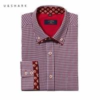 한국어 세련된 슬림 맞춤 붉은 격자 무늬 사회 셔츠 남성 블라우스 긴 소매 Camisa U & 상어 디자이너 남성 캐주얼 체크 셔츠