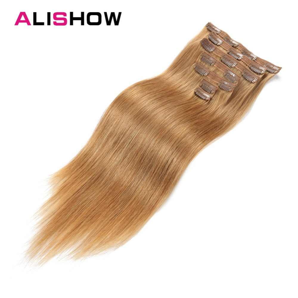 Alishow Human Hair Extensions 100G clip in Remy Hair straight Double Drawn 100% Real Human Hair Light Brown 7pcs