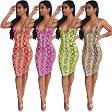 European And American New Style Deep V Sexy Printed Snake-Dress Slim Package Hip Club Dress Women Summer