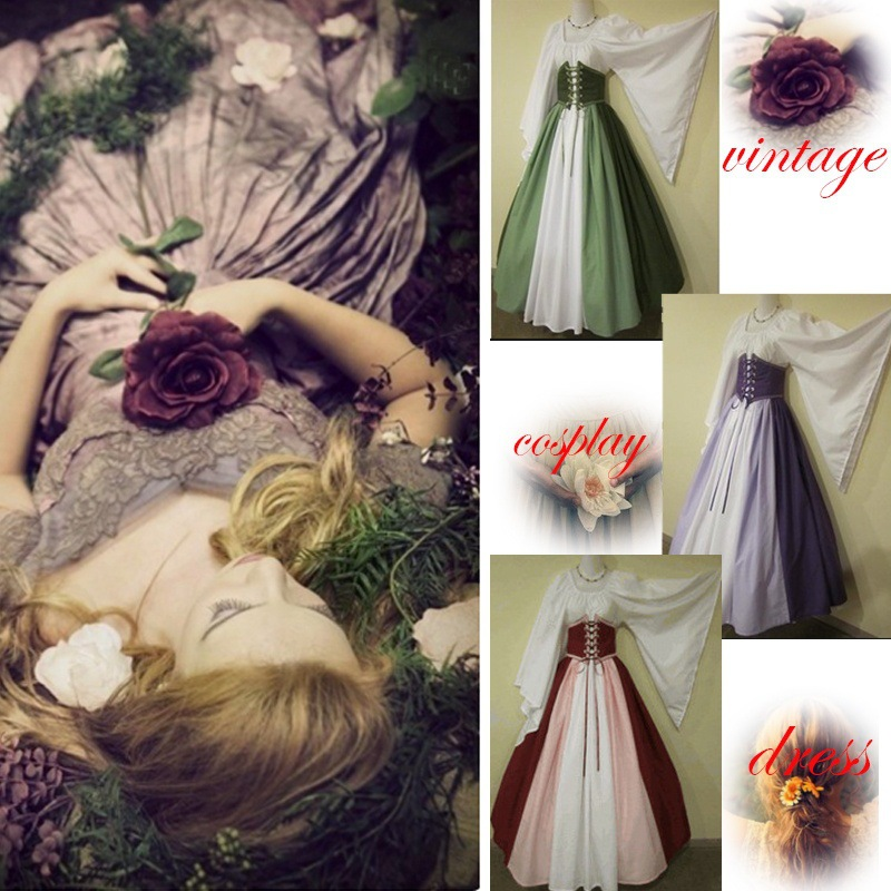 Woman's Renaissance Victorian Medieval Gothic Long Dresses For Halloween Ball Gowns Costumes Gothic Evening Party Dresses 3XL