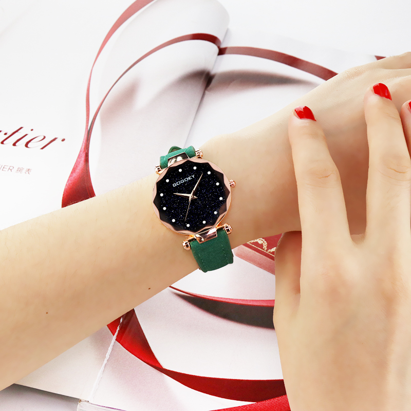 Best Selling Women Leather Magnet Buckle Starry Sky Watch Casual Luxury Women Geometric Surface Quartz Watches Relogio Feminino