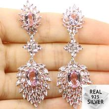 Real 8.3g 925 Solid Sterling Silver Luxury Long Pink Kunzite White CZ Present  Earrin 57x19mm