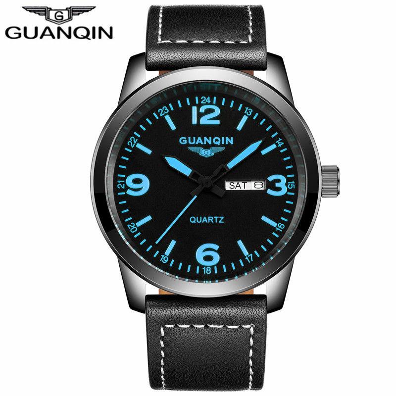 ФОТО GUANQIN GS19036 New Fashion Mens Watches Top Brand Luxury Quartz Watch Men Military Sport Leather Strap Wristwatch