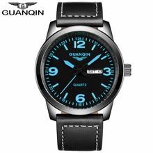 GUANQIN GS19036 New Fashion Mens Watches Top Brand Luxury Quartz Watch Men Military Sport Leather Strap Wristwatch
