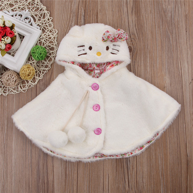 c7727ccc5 2017 Autumn Winter Baby Girls Warm Coat Cartoon Cat Lovely Hooded ...