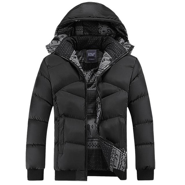 Homens casaco de inverno Quente Ocasional Blusão de algodão com capuz jaqueta de pato inverno dos homens e casacos masculinos acolchoado quente grosso Casaco