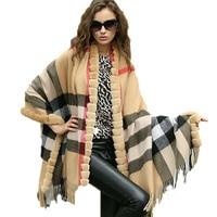 Best Women Wraps Rex rabbit Fur Female Shawl 100% Wool Cape Coat Lady Winter Warm Poncho/Plaid Gray Camel