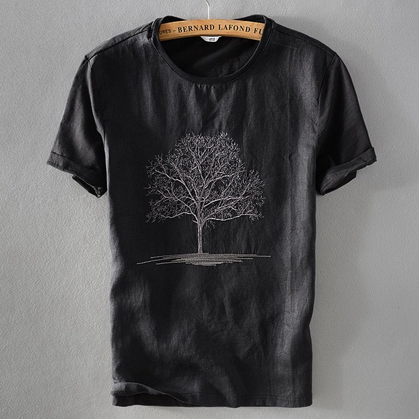 Black T Shirt Men Summer...