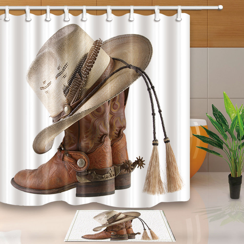 Cowboy Hats And Boots Decorative Waterproof Fabric Bathroom Shower Curtains  Sets WTS040(China (Mainland
