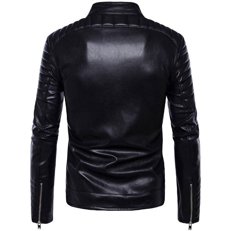Soupe Dream classique moto veste en cuir hommes nouveau Style britannique multi-zipper veste décontracté cuir casual Biker veste mâle manteau. - 2