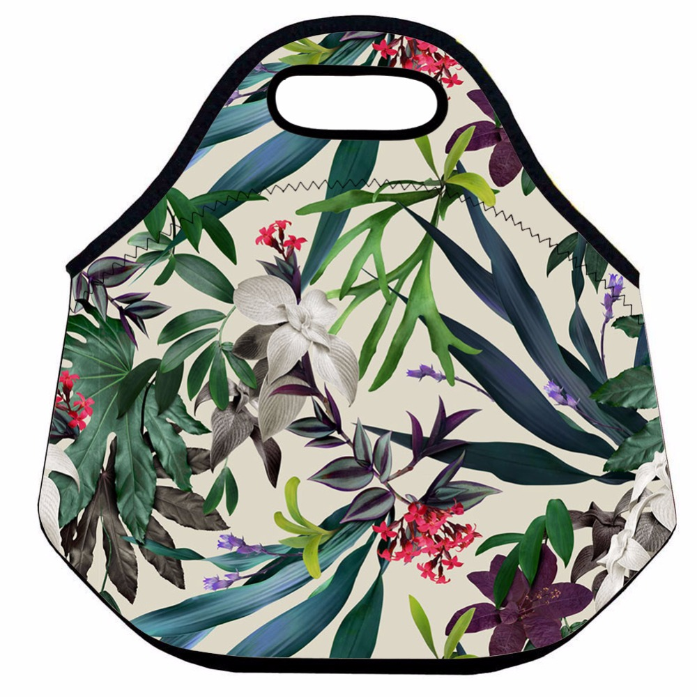 Tropical Plants Lunch Bag for Women and Kids,Neoprene Thermal Lunch Bag ,Flower Insulated Lunch Box Bag,Picnic Cooler Lunch Tote