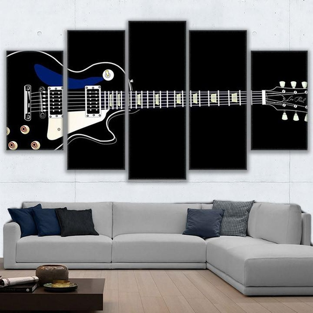 Wall Art Pictures Prints Modular Home Decor Living Room Poster 5 Pieces  Electric Guitar Canvas Painting