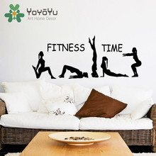 Fitness Wall Decal Fitness Time Athlete Girls Sport Sticker Yoga Vinyl Decals Gym Art Mural Bedroom Interior Poster NY-63