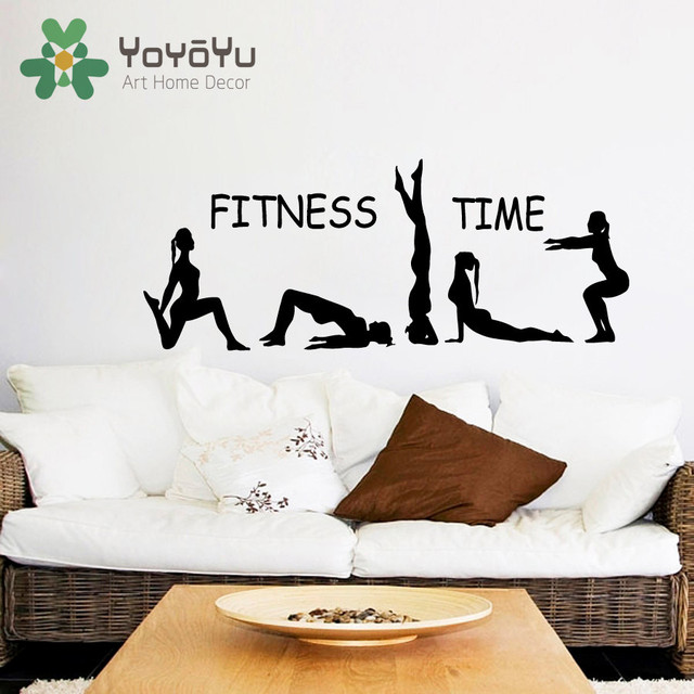 fitness wall decal fitness time athlete girls sport sticker yoga