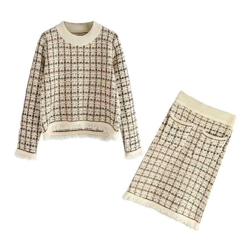 Twist Knitted 2 Piece Set Women Long Sleeve O- Neck Pullover Sweater + Split Pencil Skirt Set Lady Runway Knitting Skirt Suit