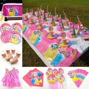 Image 1 - 82 Stk/set Kid Verjaardagsfeestje Supplies Prinses Tafelkleed Plaat Cup Servet Princesa Baby Shower Servies Decoratie Favor