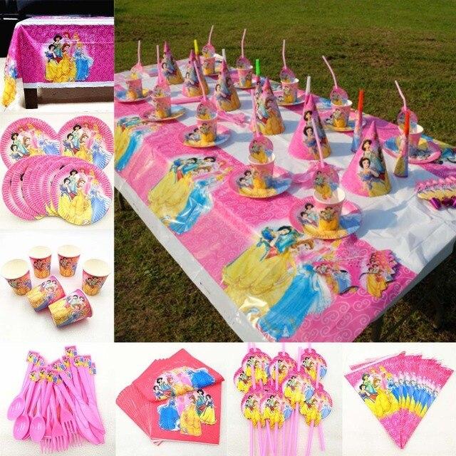 82 Stk/set Kid Verjaardagsfeestje Supplies Prinses Tafelkleed Plaat Cup Servet Princesa Baby Shower Servies Decoratie Favor