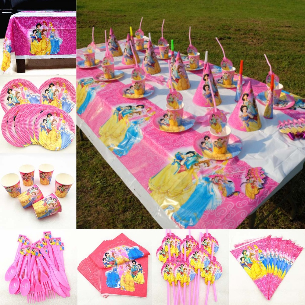 82pc/set Kid Birthday Party Supplies Princess Tablecloth Plate Cup Napkin Straw Flag Knife Fork Spoon Tableware Decoration Favor