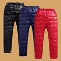 A criança do bebê Inverno Térmica Ao Ar Livre Ultraleve Quente Para Baixo Calças para meninos das meninas brilhantes Calças de nylon macia 4-10 T