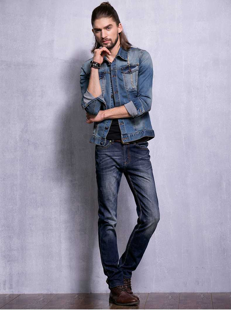 New Brand Men Jeans Style Mens Washed Button Denim Pants Ripped Jeans Large Size Male Casual Straight Slim Wholesale Jeans A1673 men s cowboy jeans fashion blue jeans pant men plus sizes regular slim fit denim jean pants male high quality brand jeans