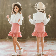 2019 Girl Princess Skirt Set Spring Autumn Two Pcs White Shirt + Plaid for Baby Kids Fashion Children Clothing 6 8 12Y