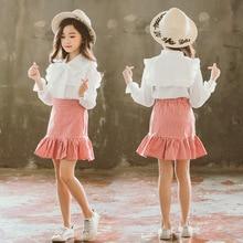 2019 Girl Princess Skirt Set Spring Autumn Two Pcs White Shirt + Plaid Skirt for Baby Kids Fashion Children Clothing Set 6 8 12Y