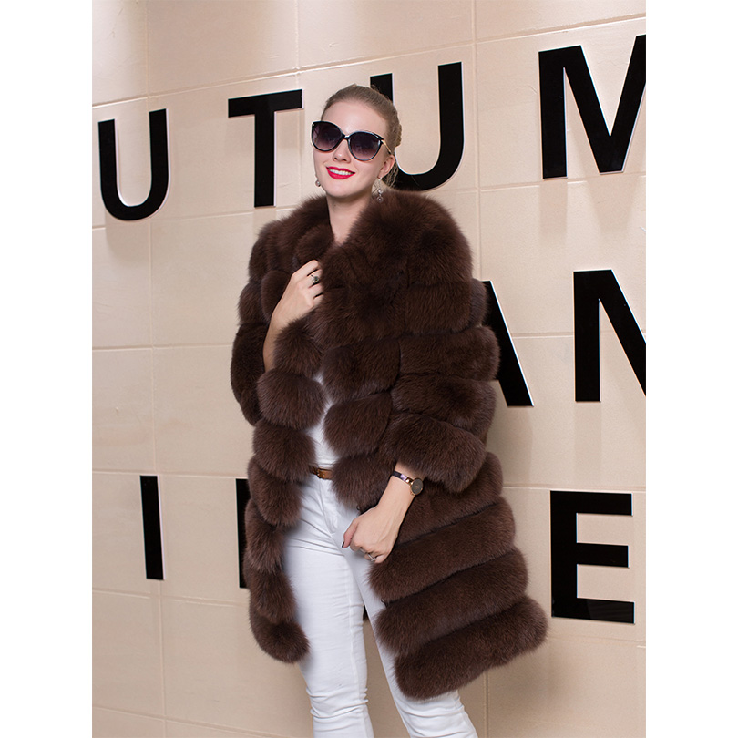 7da1bf2d7 Real Fox Fur Vest Coat Women Winter Regular Sleeve Remove Thick ...