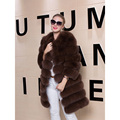 Real Fox Fur Vest Coat Women Winter Regular Sleeve Remove Thick Genuine Fur Padded Jacket Overcoat Parka O-Neck Vest Plus Size
