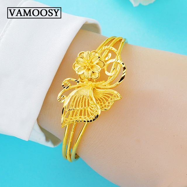 6f0440ca878 US $9.75 35% OFF|Exquisite Hand Made Carving Flower Shape Cuff Bangle  Bracelet for Women Pure 24K Gold Open Bracelet Fashion Jewelry Wholesale-in  ...