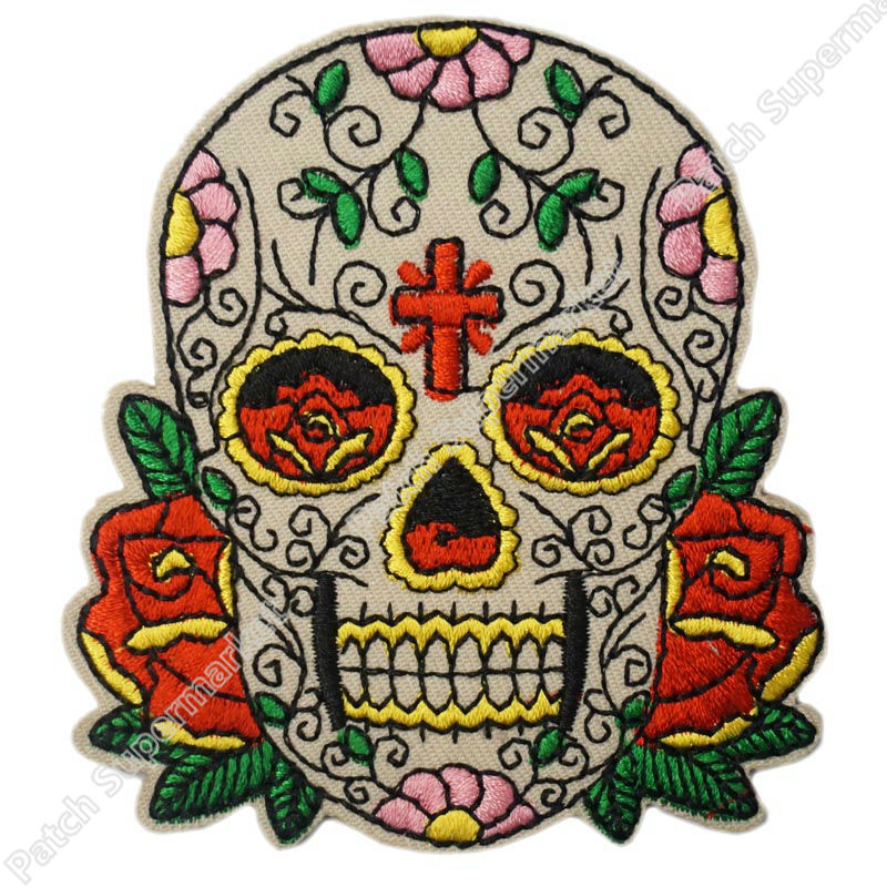 33 candy sugar skull roses cross tatoo embroidered logo iron on patch emo goth punk