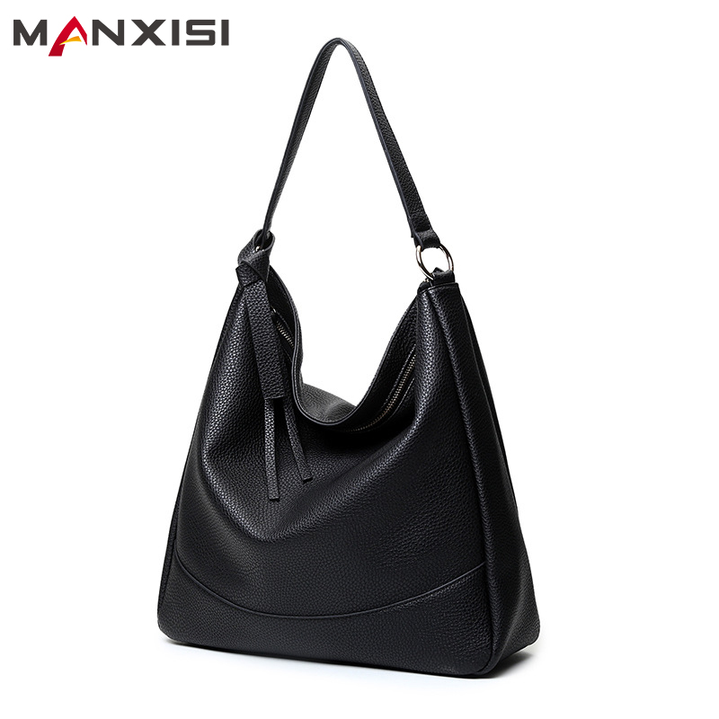 MANXISI Brand Women Handbag PU Leather Designer Handbags High Quality Big Shoulder Bags For Woman Black Large Capacity Hobos Bag high quality pu fashion women handbag designers brand woman shoulder bags leather embossed bag handbag hot handbag for women