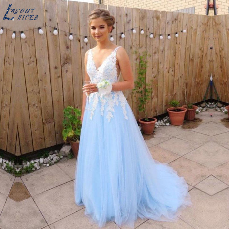 AE1229 New Sky Blue Elegant V Neck Lace Appliques Tulle Evening Dresses Party Prom Dresses Formal