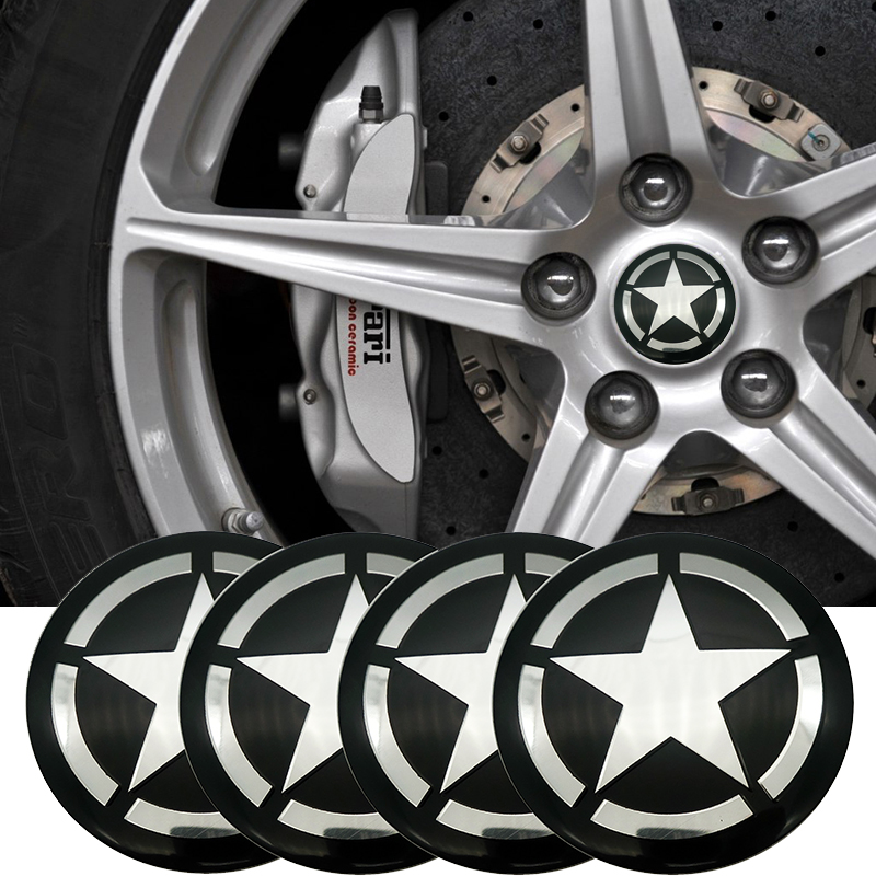 4pcs Pentagram sign Car Wheel Center Hub <font><b>Caps</b></font> Cover Rim <font><b>Sticker</b></font> Emblem Badge Styling For BMW AUDI <font><b>VW</b></font> FORD HONDA KIA JEEP OPEL image