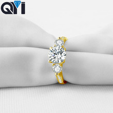 QYI 14K Solid Yellow Gold Three Stone Rings Round Cut Sona Simulated Diamond Halo Rings For Women Wedding Engagement Jewelry