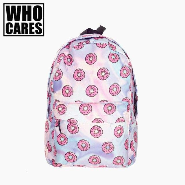 bbced8ea15 Holo Donuts 3D printing mochila backpack women bag mochilas mujer 2016 New  school laptop backpacks sac