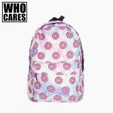 Holo Donas 3D impresión mochila mochila mujeres mochilas bolso de mujer 2016 Nuevo ordenador portátil de la escuela mochilas sac a dos mochila schoolbag
