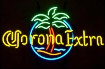 Custom Corona Extra Circle Palm Glass Neon Light Sign Beer Bar
