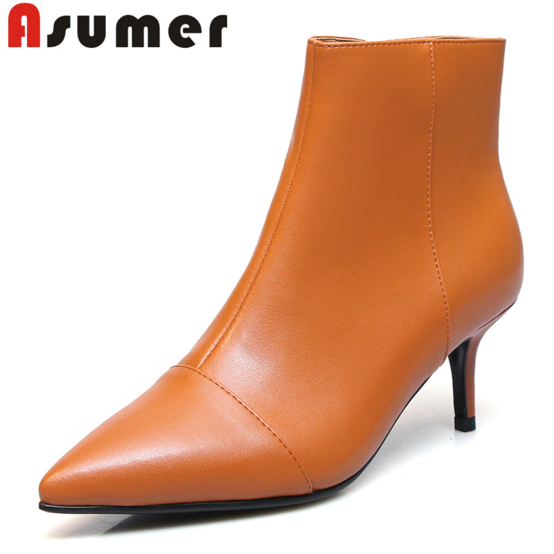 ASUMER 2018 HOT SALE adult winter boots pointed toe solid ankle boots thin heels fashion genuine leatrer boots size 34-42ASUMER 2018 HOT SALE adult winter boots pointed toe solid ankle boots thin heels fashion genuine leatrer boots size 34-42