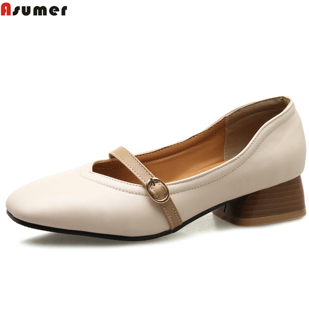 ASUMER beige black square toe buckle mixed colors shallow casual shoes woman square heel spring autumn women low heels shoes asumer beige pink fashion spring autumn shoes woman square toe casual single shoes square heel women high heels shoes