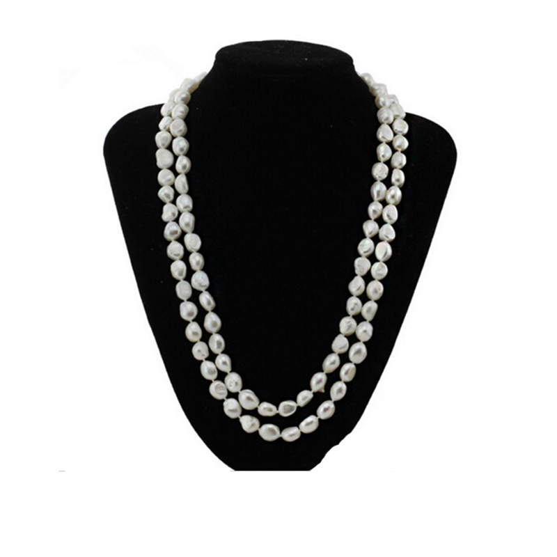 Sinya Original freshwater baroque pearl necklace 120cm/47inch length, pearl width 8-11mm, fashion pearl bead necklace for women все цены