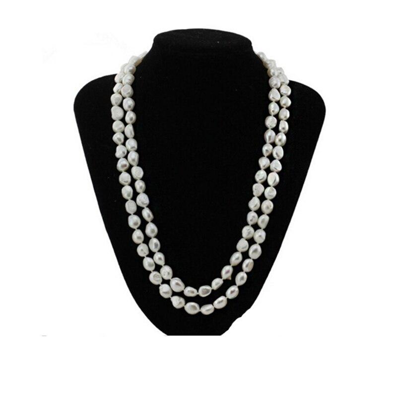 Sinya collier de perles baroques d'eau douce d'origine 120 cm/47 pouces de longueur, largeur de perle 8-11mm, collier de perles de mode pour femmes