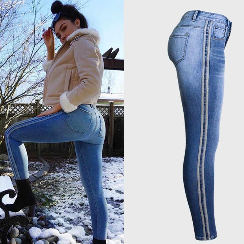 7a175fa57b0d8 Осенние новые боковые полосы усы эффект винтажные джинсы женские тонкие  отбеленные Эластичность узкие джинсы Femme синий