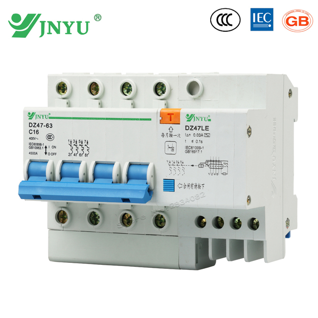 4P+N 4 poles 16A 400V~ small earth leakege circuit breaker household ...