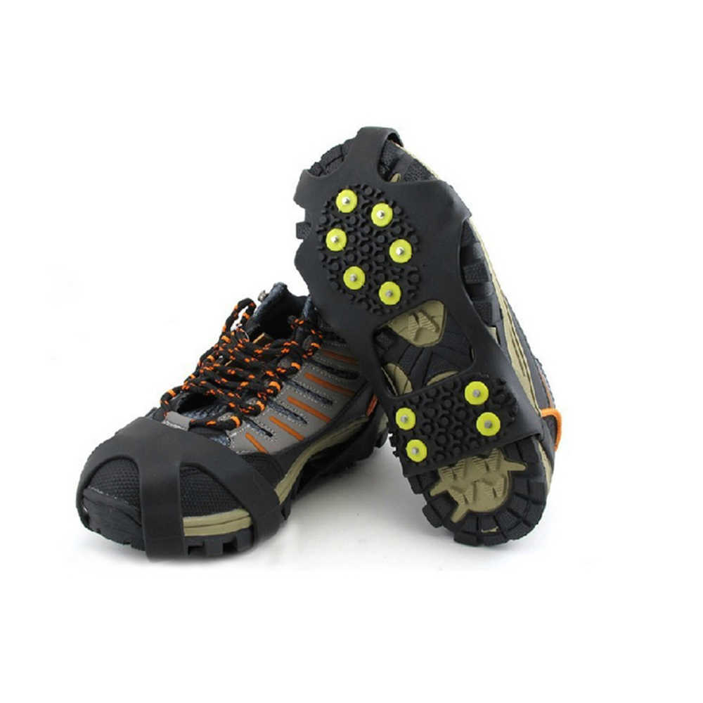 ZK30 Drop Ship 10 Stud Universal Ice Grips Sneeuw Schoen Spikes Cleats Ijskrappen Winter Klimmen Veiligheid Tool Anti Slip Schoenen cover