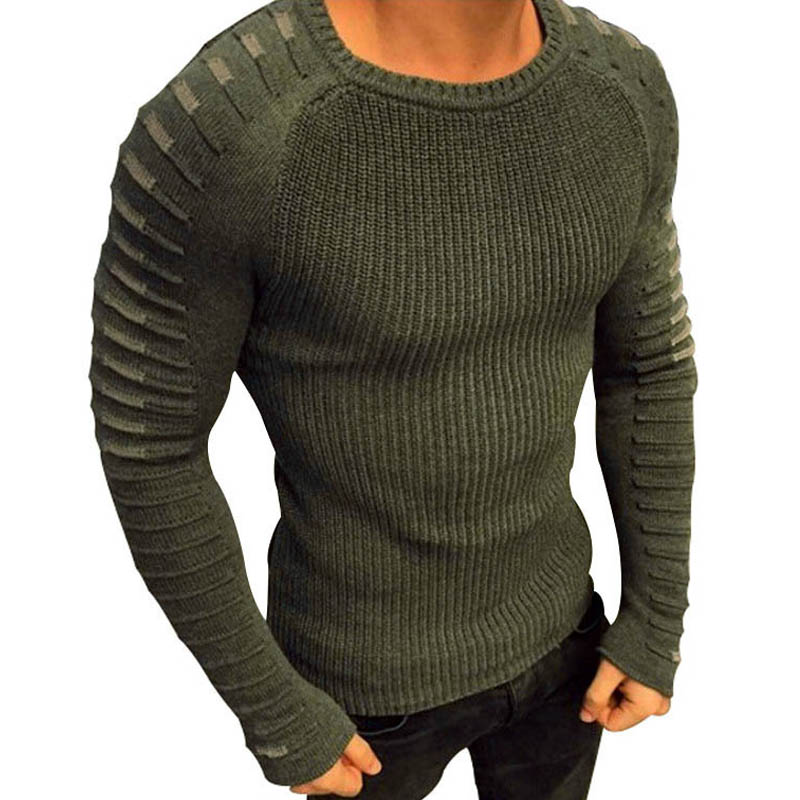 Patchwork Sweater Men Pullover Slim Fit Male Sweater Autumn Spring Casual Mens Jumper Knitwear Clothes O Neck Solid White Black